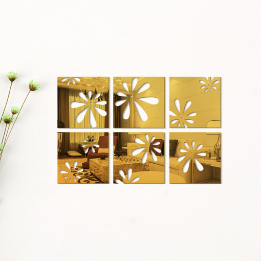 Sticker acrilic 3D Mirror 15x15 (6buc) Gold
