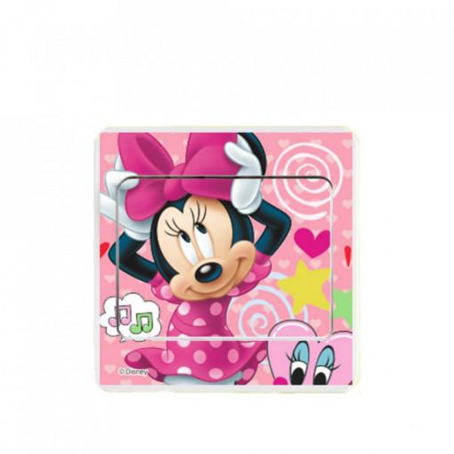 Sticker intrerupator Minnie pink 9x9 cm