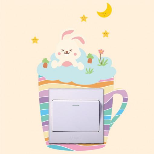 Sticker intrerupator Teacup Iepuras