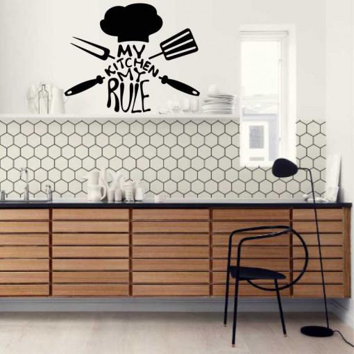 Sticker perete bucatarie My Kitchen My Rule