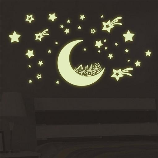 Sticker perete Glow in the Dark Moon
