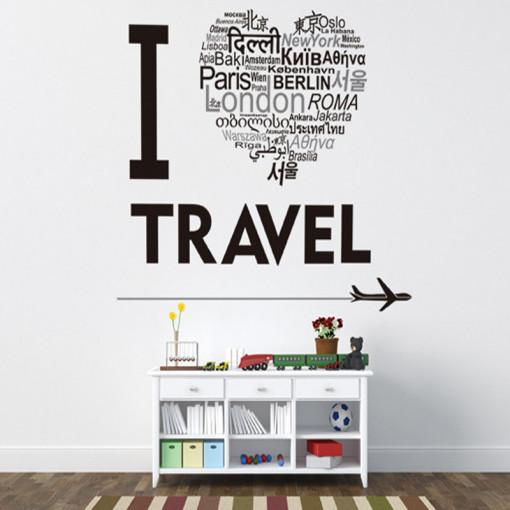 Sticker perete I love to travel