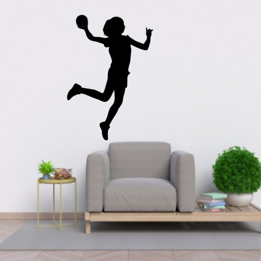 Sticker perete Silueta Jucatoare de handbal