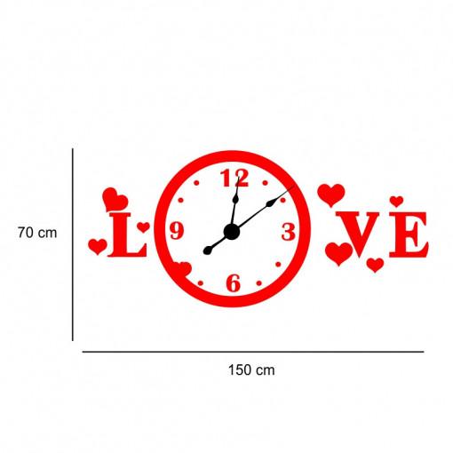 Sticker decorativ ceas Love