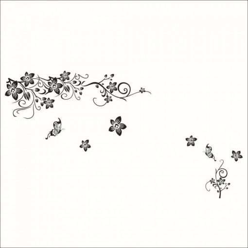 Sticker perete Black Flower Decor 6