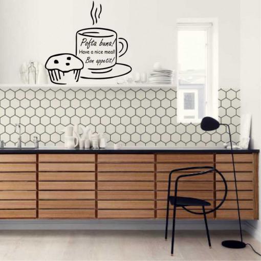 Sticker perete bucatarie Cana de cafea si briosa