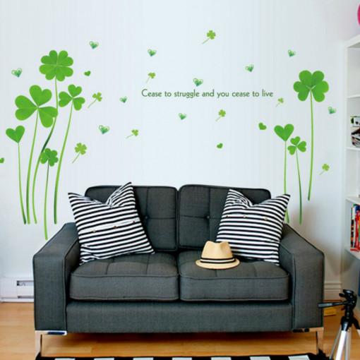 Sticker perete Green Clovers