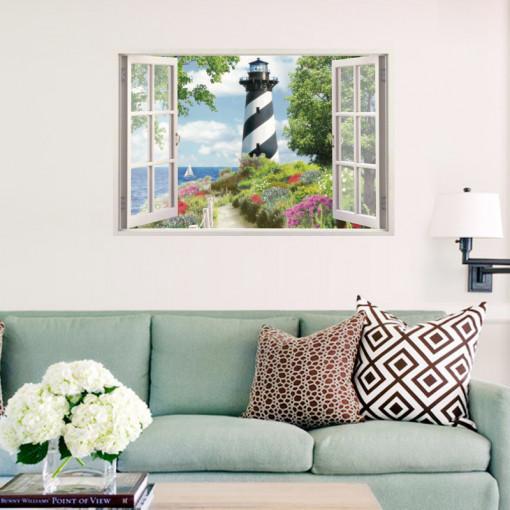 Sticker perete Light House 3D Window