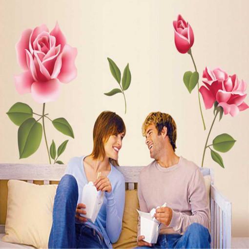 Sticker perete Trandafiri Roz