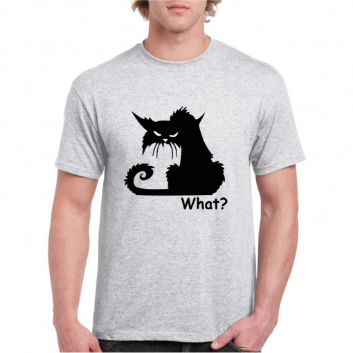 Tricou personalizat barbati gri Black Cat What S