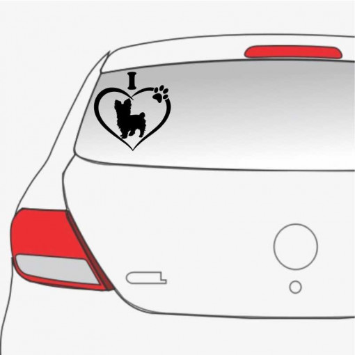 Sticker auto I love Yorkie