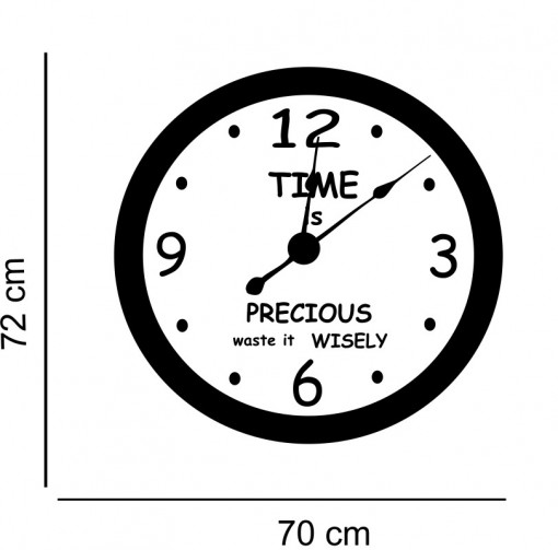 Sticker decorativ ceas Timpul este Pretios