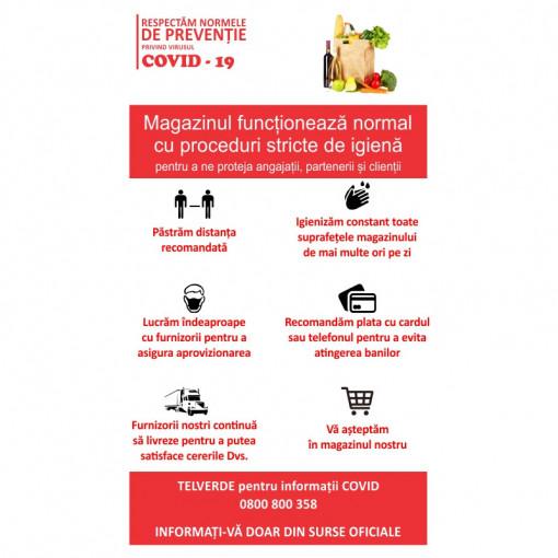 Sticker Indicator Reguli de siguranta COVID Magazin Alimentar