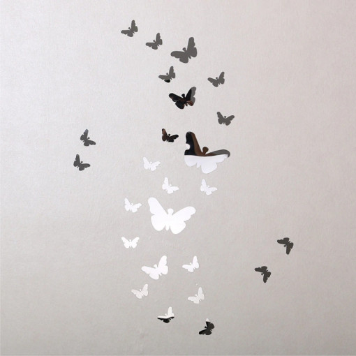 Sticker perete 3D Mirror Silver Butterflies