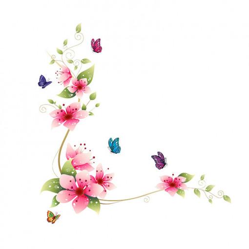 Sticker perete Flower Decor Multicolor
