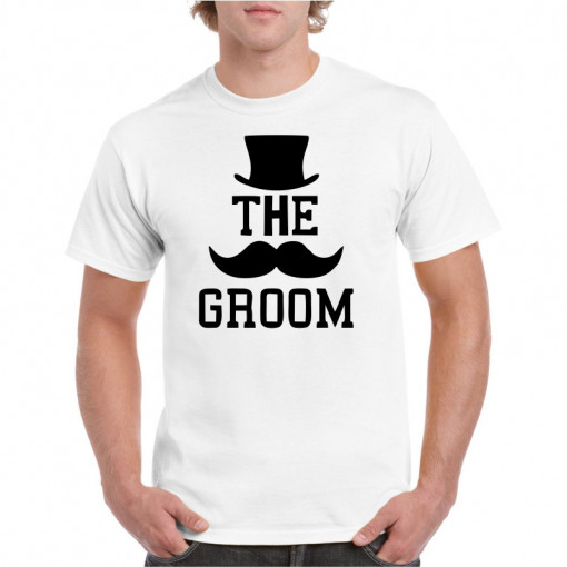 Tricou personalizat barbati alb The Groom 2