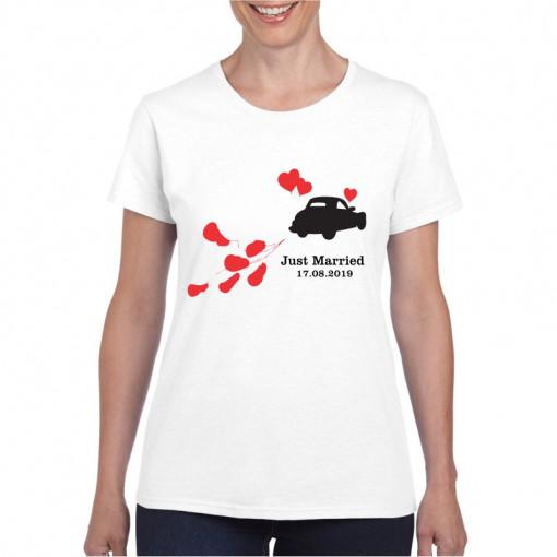 Tricou personalizat dama alb Just Married S