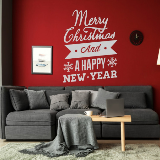 Sticker decorativ Merry Christmas and a Happy New Year Argintiu