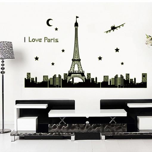 Sticker perete fosforescent Luminile Parisului