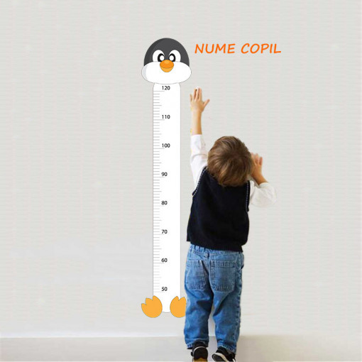 Sticker metru masurare inaltime copii Pinguin 1