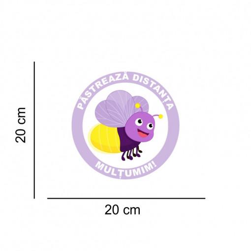 Sticker podea Pastreaza Distanta Albinuta