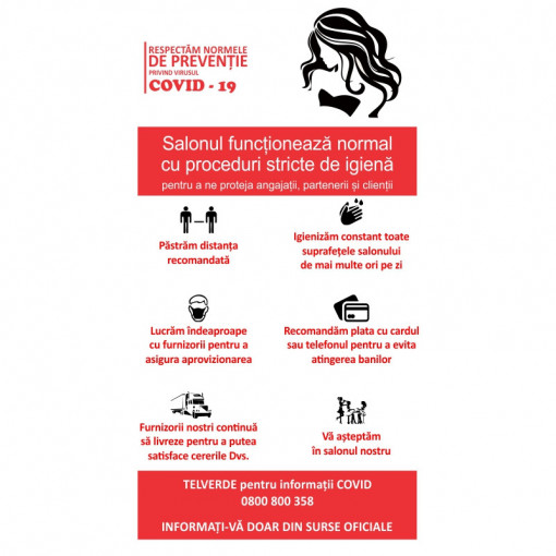 Sticker Indicator Reguli de siguranta COVID Saloane de infrumusetare