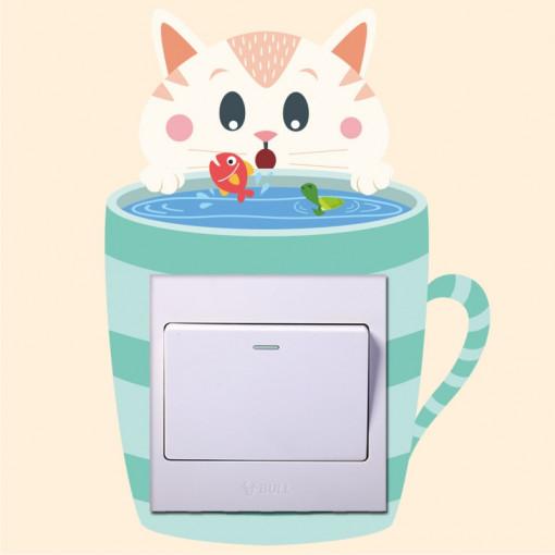 Sticker intrerupator Teacup Pisicuta