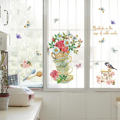 Sticker perete Flowers & Cups