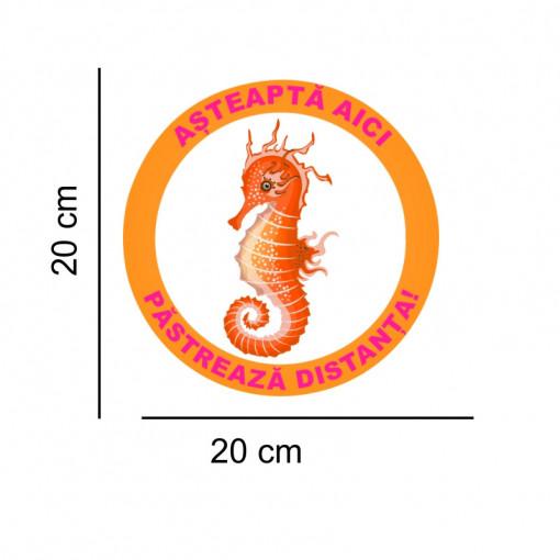 Sticker podea Asteapta Aici Calut de Mare