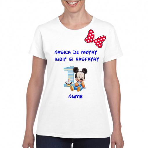 Tricou personalizat dama alb Nasica de Motat Iubit si Rasfatat