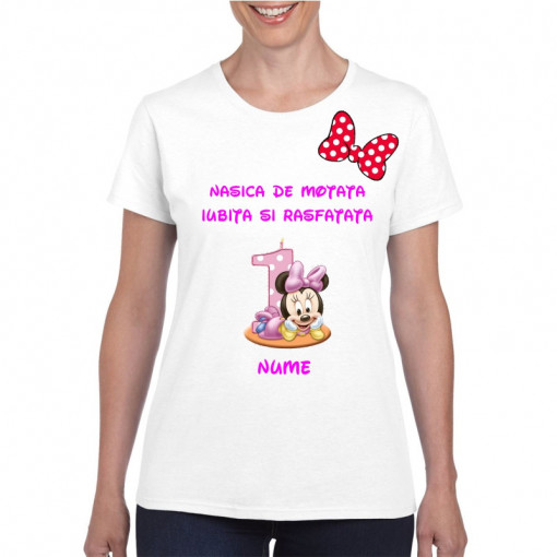 Tricou personalizat dama alb Nasica de Motata Iubita si Rasfatata