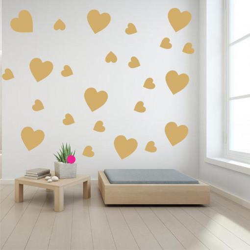 Set stickere perete Inimioare Aurii
