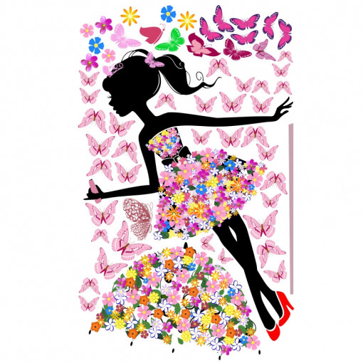 Sticker perete Dancing with Butterflies and Flowers
