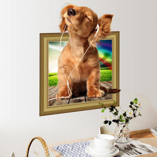 Sticker perete Here I am 3D Puppy 50x40cm