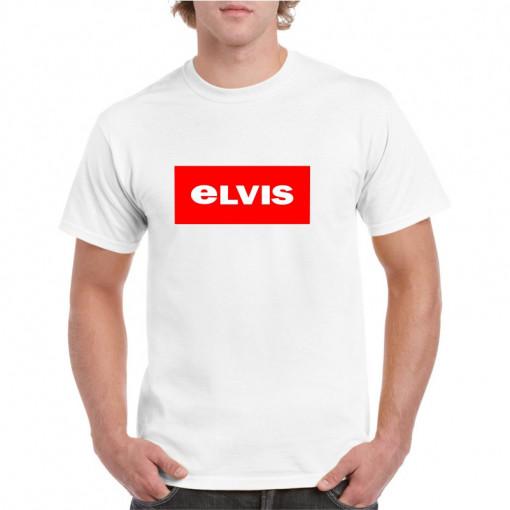 Tricou personalizat barbati alb Elvis