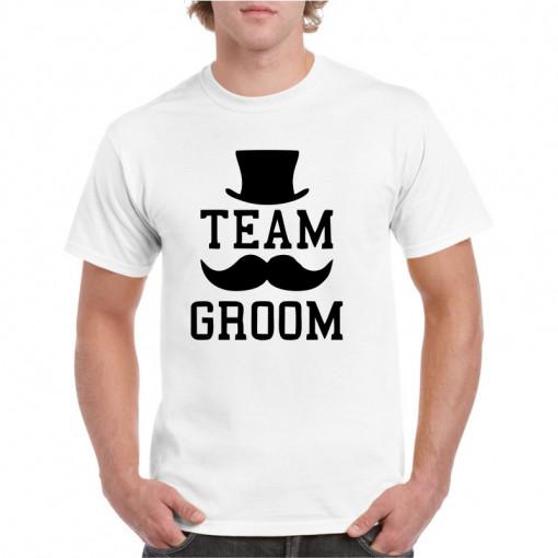 Tricou personalizat barbati alb Team Groom