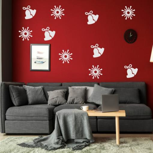 Sticker decorativ Clopotei si Fulgi de Nea Argintiu