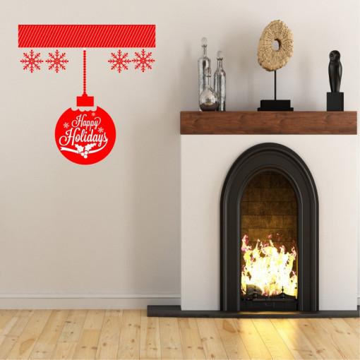 Sticker decorativ Glob Happy Holidays