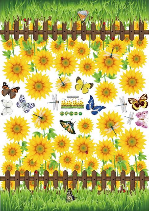 Sticker Floarea Soarelui perete / geam