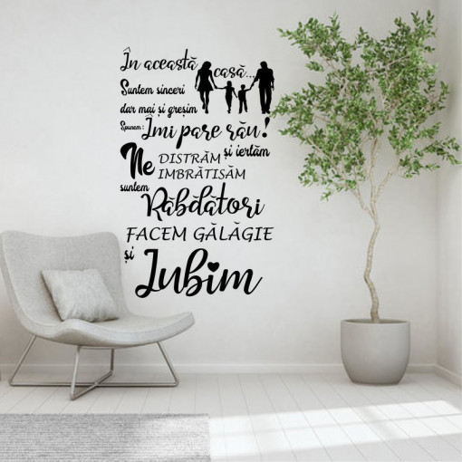 Sticker perete In aceasta casa iubim