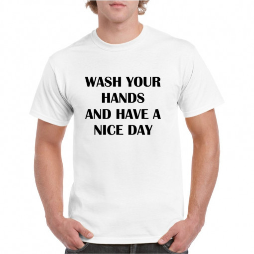 Tricou personalizat barbati alb Wash Your Hands S
