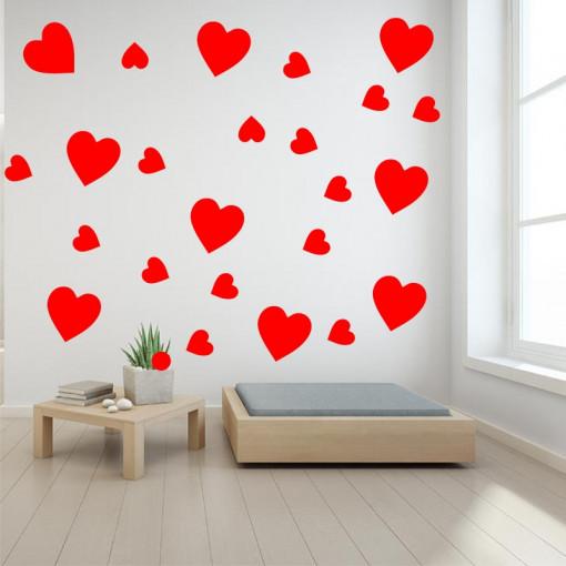 Set stickere perete Inimioare Rosii