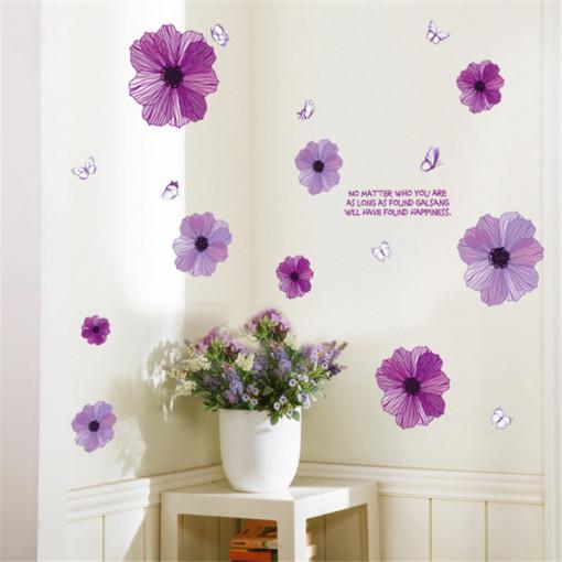 Sticker perete Romantic Purple Flower Art Wall 60x90 cm