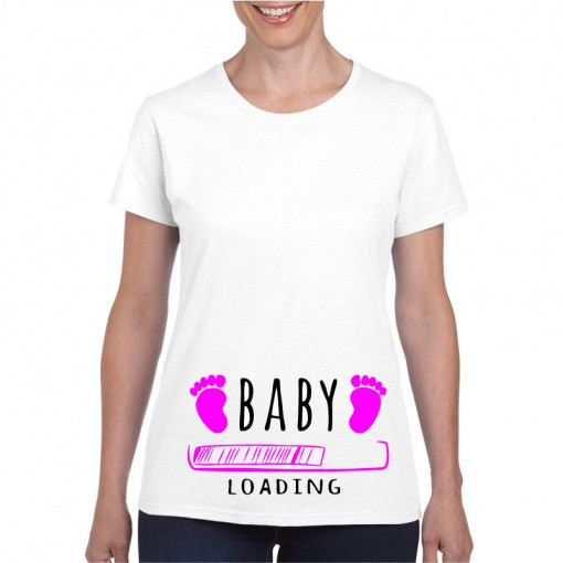 Tricou personalizat dama alb Baby is Loading Pink S