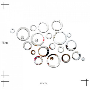 Sticker acrilic 3D Circle Mirror Silver