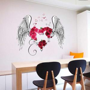 Sticker decorativ Aripi de Inger cu o inima din trandafiri 4