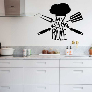 Sticker perete bucatarie My Kitchen My Rule