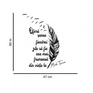 Sticker cu pana si citat motivational de Mark Twain 2