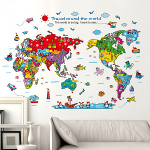 Sticker perete Funny World Map