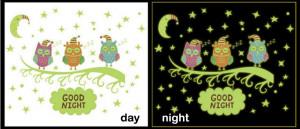 Sticker perete Glow in the Dark Owls